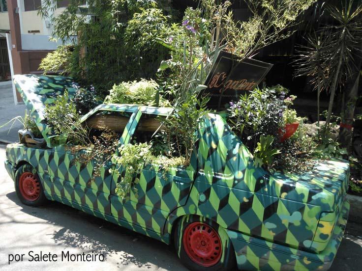 Horta urbana feita dentro de um carro abandonado em Perdizes
