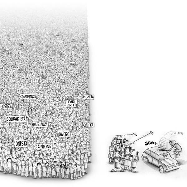 Charge mostrando que a mídia foca no quebra-quebra, que é o que vende matéria