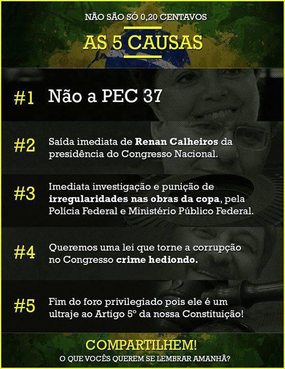 As 5 causas das manifestações no Brasil, supostamente segundo o Anonymous