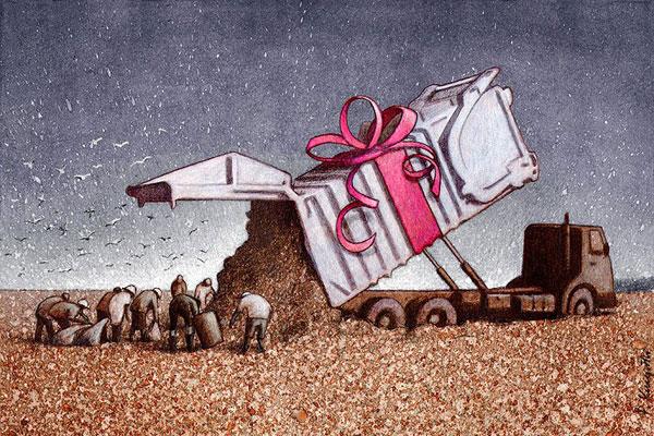 Ilustração de pessoas em um lixão