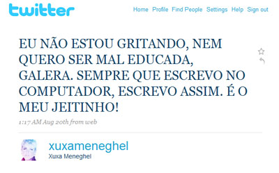 Post da Xuxa no Twitter