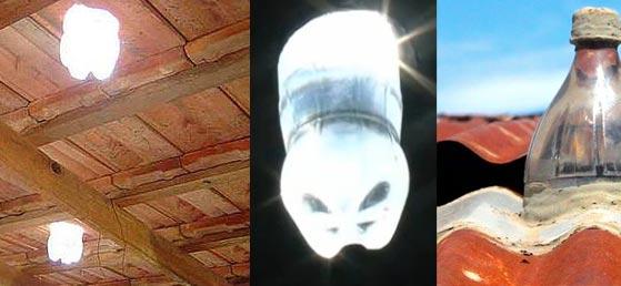 Imagens que ilustram o funcionamento das lâmpadas de garrafa pet ou lâmpadas de Moser