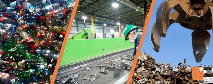 Reciclagem de garrafas PET, alumínio e aço.