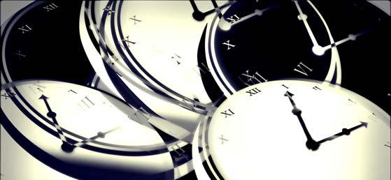 Vários relógios marcando a passagem do tempo